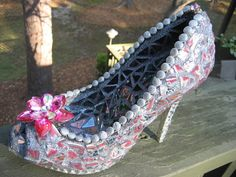 China Mosaic Shoe Sculpture---RESERVED on Etsy, $125.00