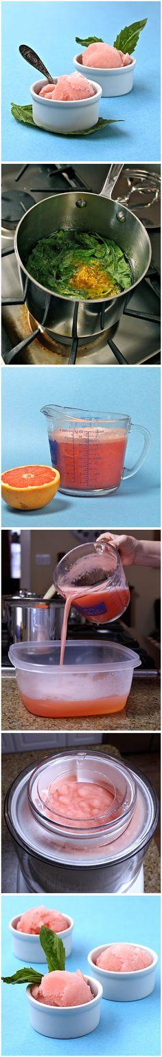 Grapefruit Basil Sorbet Recipe