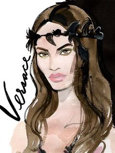 Couture Fashion Week 2015 - Versace Illustration Joan Smalls