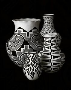 Acoma pottery is painted using yucca  fibers and sometimes only a few strands of baby hair