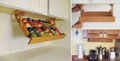Under Cabinet Spice Rack: A Smart Solution For Your Kitchen Pallet Furniture, Kitchen Furniture, Spice Rack Kitchen Cabinet, Spice Rack Organiser, Spice Racks, Online Home Design, Outdoor Kitchen Cabinets, Home Design Magazines, Under Cabinet