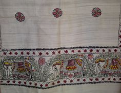 88x21 Cream Indian Tussar Silk Scarf with Madhubani Hand Painted Elephant Long Scarf (0035). $79.99, via Etsy.