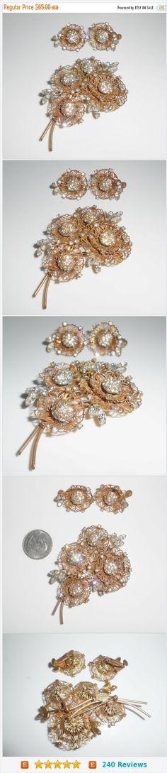 SALE Vendome Brooch Earrings Layered Flowers Clear Rhinestones Early Vendome https://www.etsy.com/listing/265307917/
