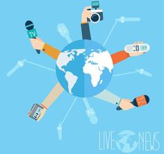 Concept of journalism and live news around the globe
