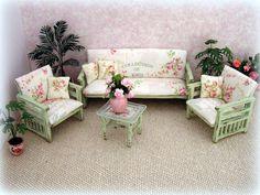 Dollhouse miniature Shabby Cottage Sofa and by MiniAbuela on Etsy