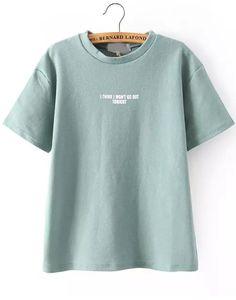 Green Short Sleeve Letters Print T-Shirt $16.83