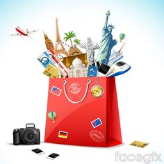 Creative travel bags background vector