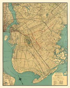 Brooklyn  antique map Print  26 x 33  by AncientShades on Etsy, $48.00