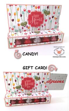 Combination treat box/gift card holder in a Valentine's theme created by Stamp Crab! Stampin' Up! supplies used include Painted Blooms DSP Blushing Bride Cardstock Tags 4 You Wood Mount Stamp Set Rose Red Ink Modern Candy Crafts, Paper Crafts, Craft Gifts, Diy Gifts, Gift Cards Money, Valentine Theme, Valentine Treats, Gift Card Boxes, Craft Show Ideas