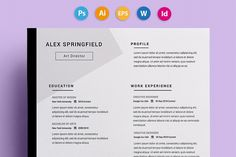 "Ad: Resume / CV - ""Springfield"" by on Presenting Springfield, a clean, elegant resume template which can be fully customized to suit your needs. This Photoshop resume allows you Resume Cv, Resume Design, Sample Resume, Cv Design, Resume Tips, Graphic Design, Design Art, Business Brochure, Business Card Logo"
