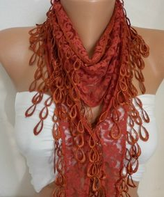 Free Shipping  Scarf  Burnt Orange Lace Scarf  Women's by ScarfAge