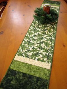 Quilted Handcrafted Table Runner With Pine Sprigs
