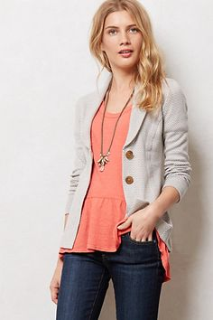 The dark blue one is kinda interesting. AVOID light one as it's too cool with gray..Cozy Knit Jacket #anthropologie