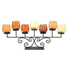 A nice autumnal-hued accent Candle Holder Decor, Metal Candle Holders, Candle Sconces, Candle Accessories, Decorative Accessories, Fall Halloween, Wall Lights, Place Card Holders, Candles
