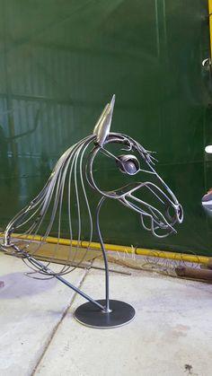 Items similar to Horse Head Metal Handmade Sculpture on Etsy Metal Sculpture Wall Art, Pottery Sculpture, Horse Sculpture, Metal Art Projects, Metal Crafts, Garden Projects, Garden Ideas, Cutlery Art, Metal Garden Art
