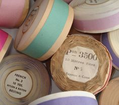 Vintage fabric and haberdashery: Vintage French Ribbon Ribbon Work, Lace Ribbon, Ribbon Embroidery, Vintage Sewing Notions, Sewing Baskets, Passementerie, Pretty Pastel, Vintage Fabrics, Vintage Colors