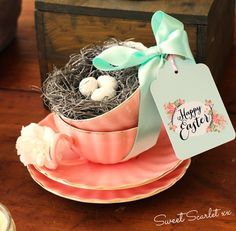 Darling Easter Decoration from this Chalkboard Spring Party + Floral Easter Brunch with SO MANY Really Cute Ideas via Kara's Party Ideas KarasPartyIdeas.com #easterparty #easte...