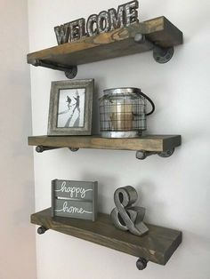 Details about Deep (set of Industrial Floating Shelves, Farmhouse, Rustic Shelves - Home Professional Decoration Industrial Floating Shelves, Floating Shelves Diy, Rustic Shelves, Farmhouse Shelving, Floating Living Room Shelves, Country Shelves, Country Farmhouse Decor, Rustic Decor, Modern Farmhouse