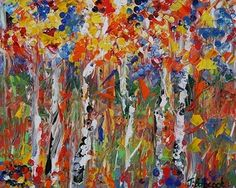 """Daily Painters Abstract Gallery: Colorado Landscape Aspen Tree Painting """"Afternoon Color"""" by Colorado Impressionist Judith Babcock"""