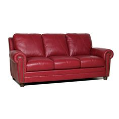 Love this Red Leather Sofa and chair by Smith Brothers. *Special ...