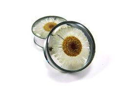 Embedded Flower Plugs gauges 1 11/8 11/4 by mysticmetalsorganics. $24.99, via Etsy.