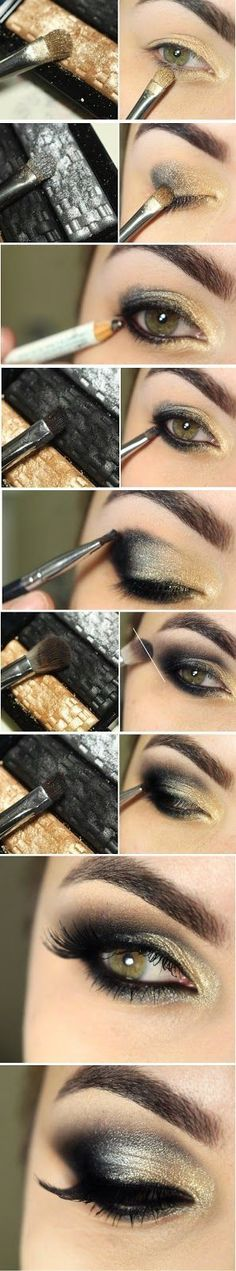 Beautiful black and bright gold smokey eye makeup tutorial