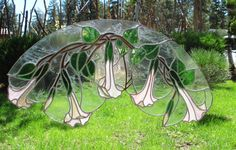 TRUMPET FLOWERS stained glass hanging by ARTbyJoAnn on Etsy, $235.00
