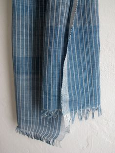 Indigo handwoven linen scarf by byrios on Etsy, $270.00