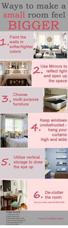 Ways to make a small room feel bigger #smallspaces #cleverIdeas