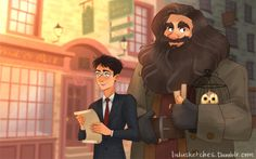 Hagrid going back to Hogwarts after the war, and Harry taking him to Diagon Alley to return the favor :) by lulu's art blog
