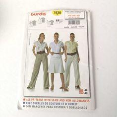 Burda 7936 Womans Top Skirt Pant Plus Sizes 10 to 22 Uncut Pattern fun Burda Patterns, Pattern Sewing, Couture, Skirt Pants, Plus Size Blouses, Fashion Pants, Skirts, How To Wear, Stuff To Buy