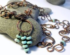 Copper links handforged textured and oxidized necklace with beads | Metal_Artistry - Jewelry on ArtFire