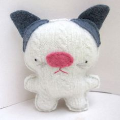 Gray and Ivory Cat - Recycled Cashmere Plush Toy
