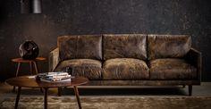 This distressed leather sofa. Nirvana Dakota Smoke Sofa by bryght. Distressed Leather Sofa, Tan Leather Sofas, Leather Sectional Sofas, Modern Sectional, Couches, Take A Seat, Love Seat, Tan Sofa, Sheepskin Throw