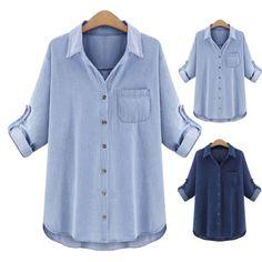 Fashion Blue Denim Women Ladies Long Blouse Short Sleeve Loose Casual Shirt Tops | eBay