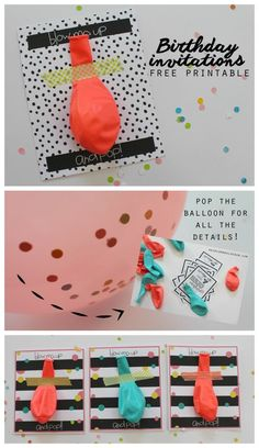 fun and unique birthday printables--pop the balloon and hidden inside is all the details!