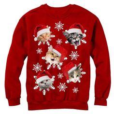 A sweatshirt covered in terrified-looking Santacats.