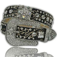 exotic western rhinestone belts women  | 1113-BK-SCROLL - WHOLESALE WESTERN RHINESTONE CRYSTAL BHW BRAND BELTS