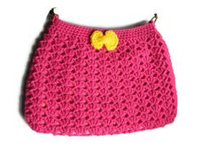 Crochet Pink Yellow Hobo Bag Fabric Lined Purse by jwhizcrochet Crochet Fabric, Hand Crochet, Crochet Purses, Black Nylons, Hobo Bag, Pink Yellow, Purses And Bags, Black Leather, Cross Body