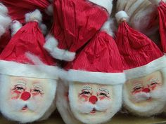 Vintage Christmas Paper Santa Claus Head U Get 5 Made in
