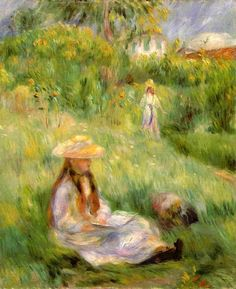 Young Girl in the Garden at Mezy - Pierre-Auguste Renoir: