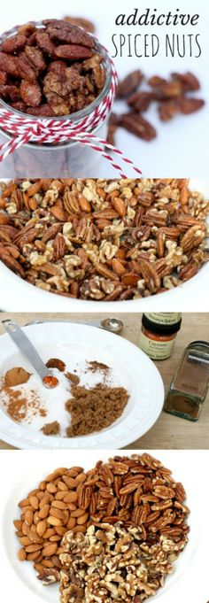 This wonderful spiced nuts recipe has all the holiday flavor but only half the sugar. This is any easy technique, so simple even the kids can make them. Also good for holiday gift-giving. But keep them on a high shelf because they& totally addictive! Holiday Baking, Christmas Baking, Yummy Treats, Yummy Food, Spiced Nuts, Candied Nuts, Think Food, Food Gifts, Holiday Recipes