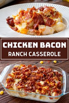 A flavorful casserole packed with chicken, crumbled bacon, and pasta! Ingredients lb bacon, cooked and chopped 1 lb chicken, bone. Cheap Chicken Recipes, Summer Chicken Recipes, Easy Pasta Recipes, Easy Dinner Recipes, Cooking Recipes, Rice Recipes, Recipies, Easy Meals, Chicken Bacon Ranch Casserole