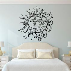 Honestly would consider as a tattoo. Sun And Moon Wall Decal- Sun Moon And Stars Wall Decals Ethnic Decor- Bedroom Dorm Wall Decal Sticker Bohemian Boho Wall Art Home Decor