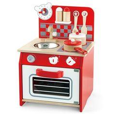 Detská drevená kuchynka malá - červená