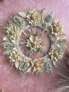 Wedding accessories,Gift for honeymooners. Wreath for front door,Straw Ornament,Decoration wall,Hous Straw Weaving, Weaving Art, Head Accessories, Wedding Accessories, Corn Dolly, Seasonal Decor, Farmhouse Decor, Farmhouse Front, Decoration