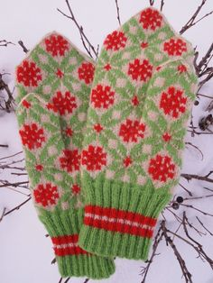 Finely Hand Knitted Estonian Mittens in Red Green and White. $89.00, via Etsy.