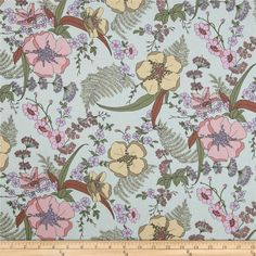Designed for Kaufman Fabrics, this very lightweight fabric is a finely woven, high count combed cotton lawn that is very soft and has an ultra smooth hand. It is perfect for flirty blouses, dresses, shirts, lingerie, tunics, tops and even quilting. Colors include rose, lavender, maize, brown and olive on a mint background.