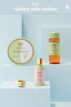 Summer is for taking off layers. That goes for your face, too. Meet Pixi's nightly routine must-haves to slough off dead skin and keep you glowing all season long. Start with Double Cleanse, a 2-in-1 formula with makeup-removing solid cleansing oil on one side, and cleansing cream on the other. Follow with Glow Tonic, made with 5% glycolic acid—the key ingredient in exfoliation—for a glowing complexion. Massage a few drops of Rose Oil Blend into freshly toned skin, and go get that beauty…