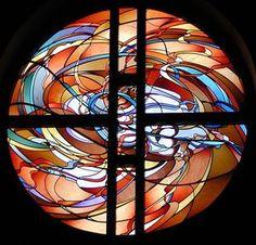 Fire window in the Grace Covenant Presbyterian Church - Overland Park (Kansas City), Kansas - Artist: Kathy Barnard